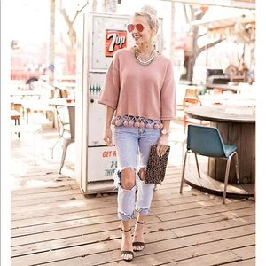 Sweaters - Blush Pink Half Sleeve Pom Pom Sweater | Size: S